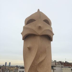 chimney on rooftop of Gaudi's apartment building La Pedrera